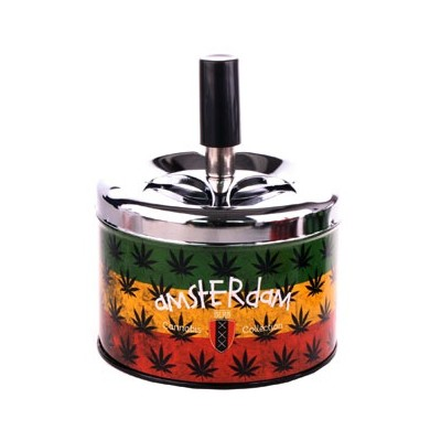 SPIN ASHTRAY LEAF RASTA AMSTERDAM