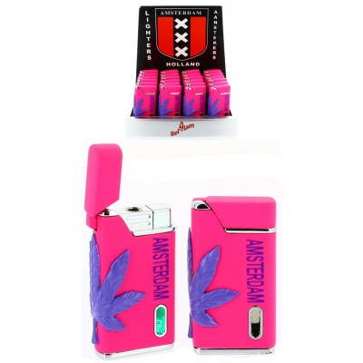 TURBO PINK LIGHTER AMSTERDAM LEAF WITH GREEN FLAME